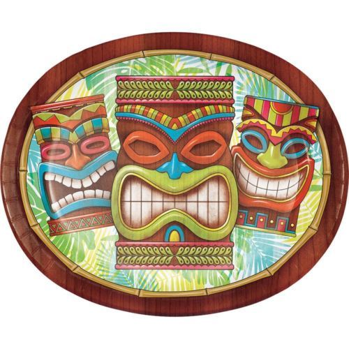 Tiki Time 8 Ct Banquet Platter Oval Paper Plates Summer Pool Party Luau