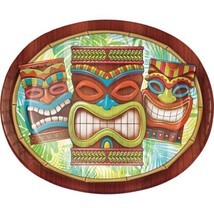 Tiki Time 8 Ct Banquet Platter Oval Paper Plates Summer Pool Party Luau - £5.92 GBP