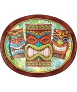 Tiki Time 8 Ct Banquet Platter Oval Paper Plates Summer Pool Party Luau - £6.01 GBP