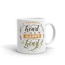 New Mug - A thankful heart is a happy heart thanks thanksgiving - $10.99+
