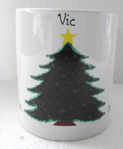 "2002 Let There Be Light Christmas Light-up Name Mug ""VIC"" Collectible Wh... - $18.99"