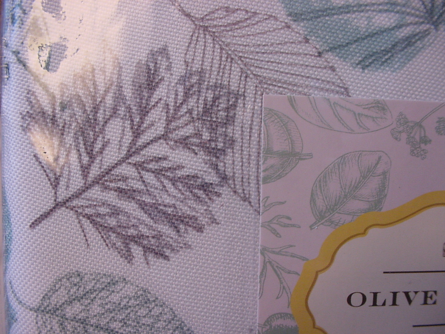 "Olive & Thyme Aqua and Gray Leaves on White Indoor/Outdoor Tablecloth 70"" Round"