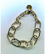 large link gold chain bracelet 10mm x 12mm metal womens mens unisex jewe... - $5.99