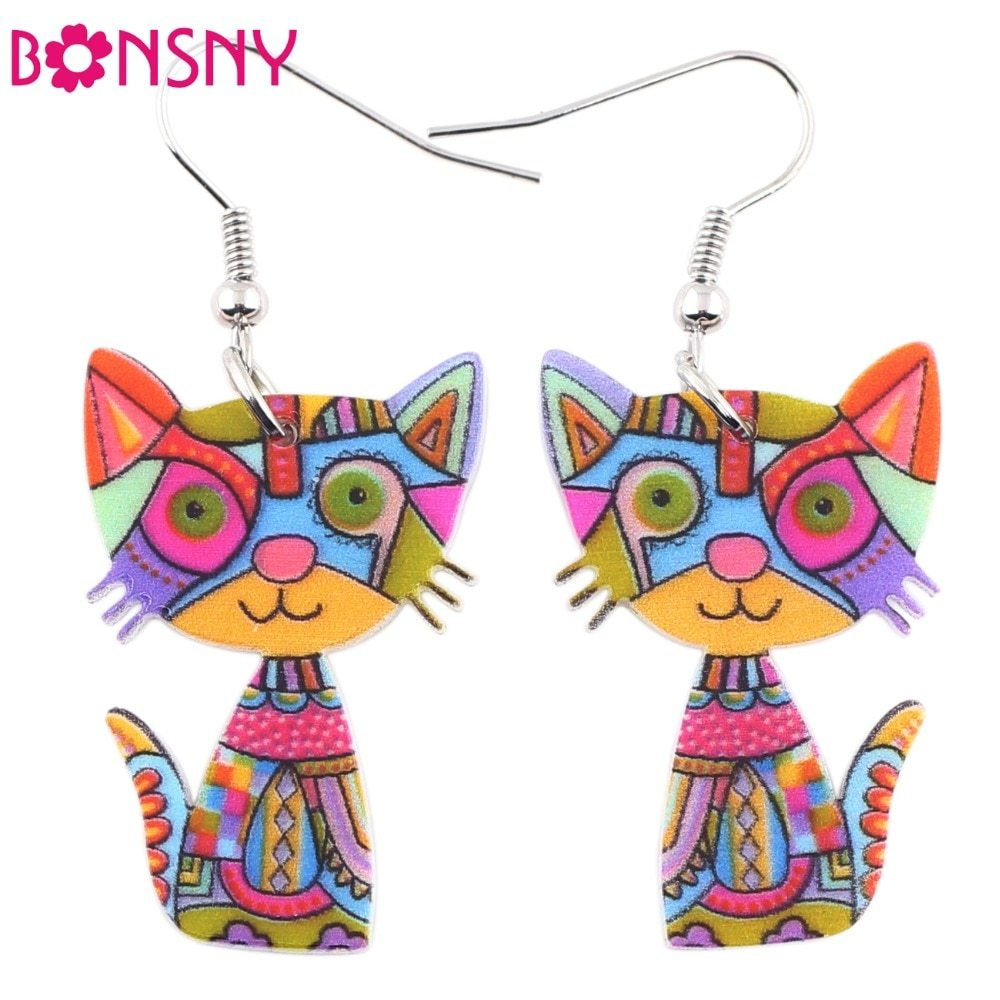 Primary image for Cat Acrylic Earrings Big Long Dangle Earring Fashion Jewelry For Women Girl New