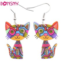 Cat Acrylic Earrings Big Long Dangle Earring Fashion Jewelry For Women G... - $8.99