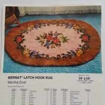 Bernat Latch Hook Rug Canvas 3301 Martha Oval 34 x 59 Hand Painted 1976 - $59.39
