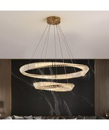 Luxury Home Decor Crystal Lamp Gold Ring Hanging Light Fixtures For Livi... - $959.99+