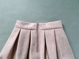 Lady Pink Winter Wool Skirt Pink High Waist Midi Pleated Skirt Winter Party Plus image 6