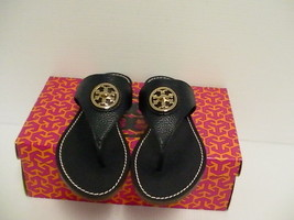 Tory Burch Femme Marine Pantoufles Selma Plat String Cuir Vieilli Taille 5.5 US - $209.82