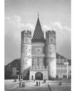 SWITZERLAND Basel Gate of Spalen Spalentor - 1860s Antique Engraving Print - $42.08