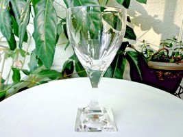 Italian Made LQIC Clear Crystal Red Wine Goblet Square Base - $19.80