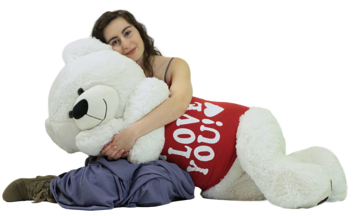 Primary image for Giant Valentine's Day Teddy Bear 52 Inch White Soft, Wears Removable T-shirt I L