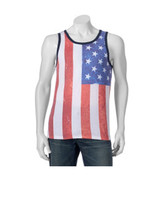 Levi's Strauss Men's Sleeveless Tank Top American Flag Red White Blue  - $16.99