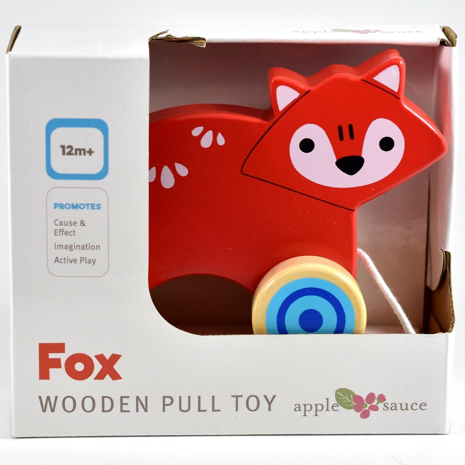 Applesauce Fox Baby Wooden Pull Toy for Toddlers Children Ages 12+ Month