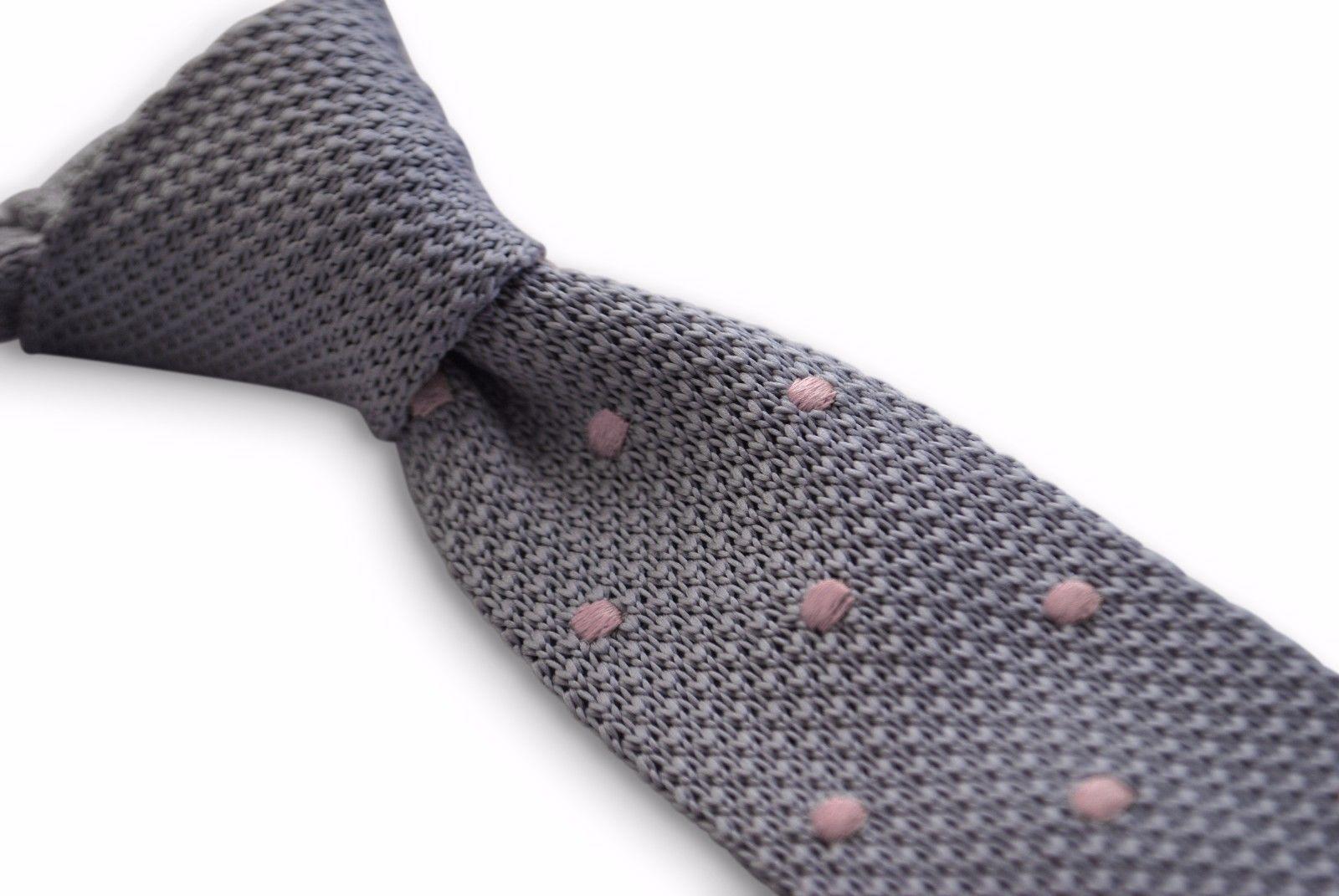 Frederick Thomas grigio e rosa a pois, da uomo maglia cravatta ft3298