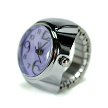 WATCH RING Finger Stretch Band Chrome Time Jewelry NEW Large Number Purp... - $8.79