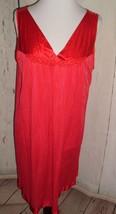 Womens Vtg Vanity Fair Red Floral Trim Satin Hem Full Slip LINGERIE Sz L - $13.97