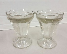 Pair Of Vintage Large Footed JEANNETTE Ice Cream Sundae Sherbet Glass Dish - $7.34