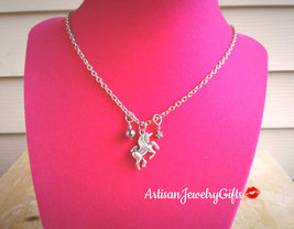 Unicorn Necklace Silver Unicorn Necklace Purple Freshwater Pearl Necklac... - $38.00+