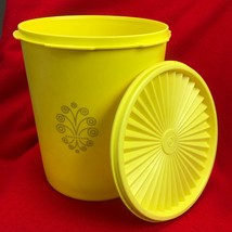 """Vintage Tupperware Canister YELLOW #807-13 + 808-18 Lid - 7 1/2"""" - $23.76"""