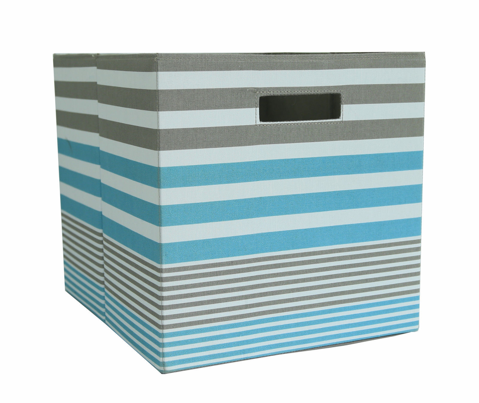 Cube Storage Bins Set Of 2 Teal Stripe And Similar Items