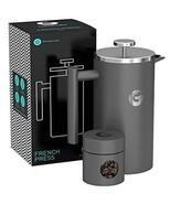 Large French Press Coffee Maker Triple Filter, Vacuum Insulated Stainles... - $58.16