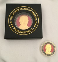 """2 TRUMP ITEMS CHALLENGE COIN + PRESIDENT PAPERWEIGHT COASTER 2 1/2"""" GOLD... - $17.90"""