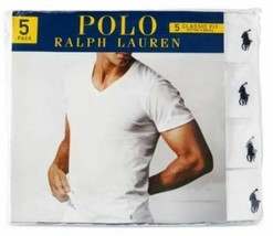 5 POLO RALPH LAUREN 100% COTTON SIZE S M L 2XL WHITE V-NECK T-SHIRTS UND... - $51.38+