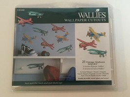 Wallies Wallpaper Cutouts Vintage Airplanes 25 Boys Room Childrens Strippable - $10.80