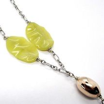 Silver necklace 925, Oval Pink, Jasper Green Wavy, Cluster Pendant image 4