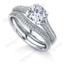Engagement Ring Round Cut Bridal Ring Set 14k White Gold Fn 925 Sterling... - $117.00