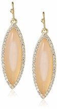 Chloe + Theodora 14K Gold Plated Pink Chalcedony CZ Crystal Drop Earrings NWT