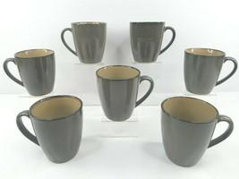 7 Sango Roma Sage 4814 Coffee Mugs Set Green Tan Pattern Stoneware Tea M... - $44.42