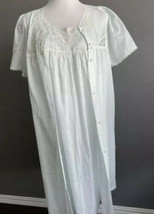Vtg Vanity Fair 2 PC Set Gown Robe Embroidered Poly Cotton L Mint Lace P... - $49.49