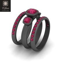Three Stone Bridal Wedding Ring Set Pink Ruby 3Pc Engagement Ring Set For Womens - $649.99