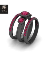 Three Stone Bridal Wedding Ring Set Pink Ruby 3Pc Engagement Ring Set Fo... - $12.821,62 MXN