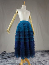 Navy Blue Tiered Tulle Skirt Layered Tulle Midi Skirt Outfit US0-US28 image 3