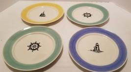 "4 Ralph Lauren Maritime Stripe 9"" Dinner Plates Sailboat Ship's Wheel Li... - $29.10"