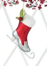 """6 Snow Drift Silver & Red Glittered Ice Skate Glass Christmas Ornaments 4"""""""
