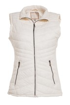 Cream Quilted Vest, Quilted Puffer Vest, Quilted Vest with Knit Side Panels