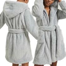 NWT Anthropologie x Eri + Ali Prudence Hooded Robe Sherpa Grey Blue Size XL - $88.99
