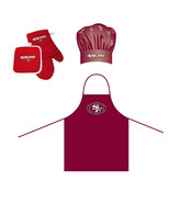 NFL San Francisco 49ers Barbeque Apron, Chef's Hat and Pot Holder Deluxe... - $27.86