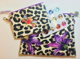 ESTEE LAUDER PURPLE ANIMAL PRINT COSMETIC TRAVEL BAGS BIRTHSTONE Nesting... - $18.69