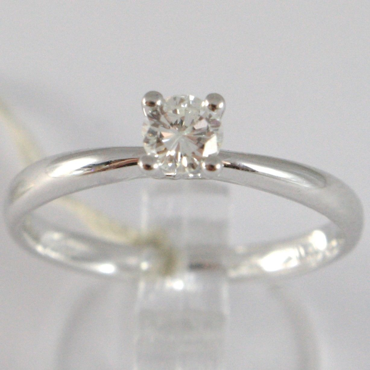 WHITE GOLD RING 750 18K, SOLITAIRE, STEM ROUNDED, DIAMOND CARAT 0.25