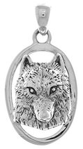 Jewelry Trends Sterling Silver Wolf Face 3D Portrait Pendant - $33.99