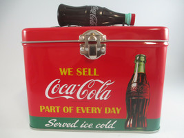 Coca-Cola Train Case Plastic Bottle Handle Latching Close Tin Served Ice Cold - $8.42