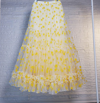 Women Yellow Tulle Maxi Skirt High Waist Floral Tiered Tulle Skirt Plus Size image 5