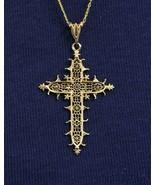 Solid 18K Gold Filigree Cross Pendant Medal of the Estaing Bridge Rare E... - $490.05