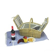 NORTHLIGHT 2-Person Woven Warm Gray and Natural Willow Picnic Basket Set... - $1.067,37 MXN