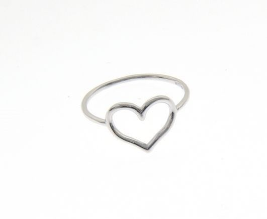 18K WHITE GOLD HEART LOVE RING SMOOTH, BRIGHT, LUMINOUS, BAND, MADE IN ITALY